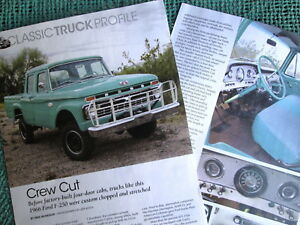 H 66 1966 Ford 250 Crew Cab 3 Pgs Pickup Truck Info New
