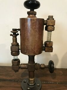 Antique Bessemer Gas Engine Oiler Lubricator Rustic Steam Brass 1pt