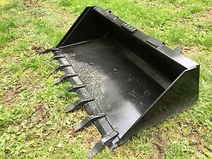 New Heavy Duty 66 Skid Steer Bucket With Teeth For Bobcat Case cat