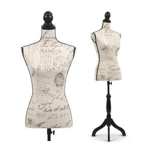 Female Mannequin Torso Dress Form Holder With Wood Stand Store Display U0n2