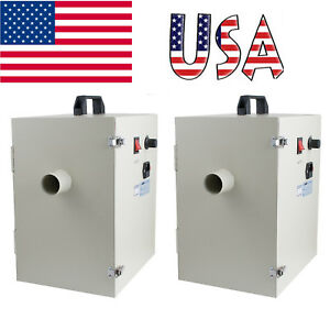 2 Units Dental Digital Dust Collector Vacuum Cleaner Lab Device Equipment 1200w