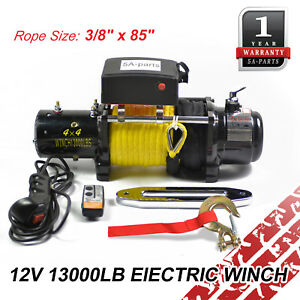 12v 13000lb Electric Recovery Winch Towing Off Road Atv Synthetic Rope W Remote
