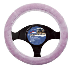 Pink Fluffy Fuzzy Furry Plush Car Steering Wheel Cover Glove Girls Ladies Gift