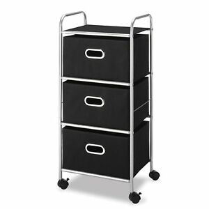 3 Drawer Filing Cabinet Rolling Cart Office Storage Organizer File Holder Black