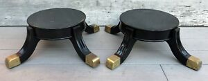 Vintage Pair Empire Large Black Lacquered Wooden Plant Or Vase Stands Brass Feet