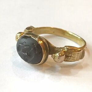 Ancient Persian Sassanian 18k Gold Ring With Intaglio Of Taurus 500 600 Ce