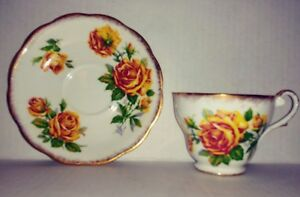 Antique Vintage Royal Standard Fine Bone China Romany Rose Cup Saucer England