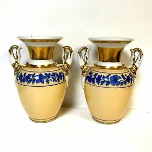 Pair Of Old Paris Porcelain Vases With Swan Neck Handles
