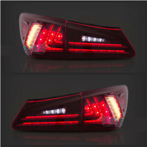 Pair Tail Lights Led Red Lens Rear Lamp Fit For Lexus Is250 Is350 Is F 2006 2012