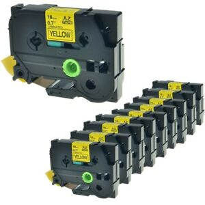 10pk Tz 641 Tze 641 Black On Yellow Label Tape For Brother P touch 3 4 18mm