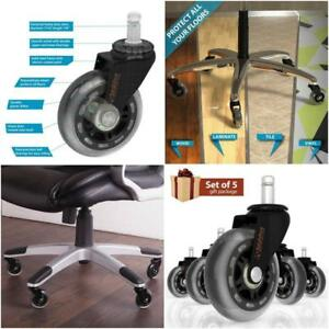 5 Desk Chair Rubber Soft Casters For Hardwood Floor Gift Set Heavy Duty Reliable