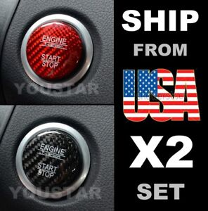 Us Stock 2 Genuine Carbon Red Black Caps For Mercedes Engine Start Push Button