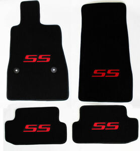 New Black Floor Mats 2016 2021 Camaro Embroidered Ss Logo In Red On All 4 Mats