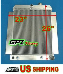 2 Core Universal Aluminum Radiator Griffin Hot Rat Rod Ford Chevy Dodge 26 23