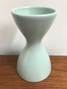 Vintage Mid Century Turquoise Pottery Hourglass Vase Made In Romania