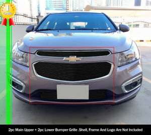 For 2015 Chevy Cruze Upper And Lower Black Billet Grille Combo