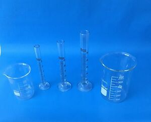 Beaker Set Of 600ml 250ml Cylinder Set Of 10ml 25ml 50ml Lab Glass New