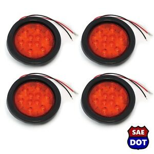 4 Round 4 Red 10 Led Stop Turn Tail Light Flush Mount Truck Trailer