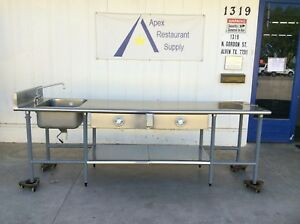 Stainless Steel Work prep Table W drawers Sink And Shelf 2980