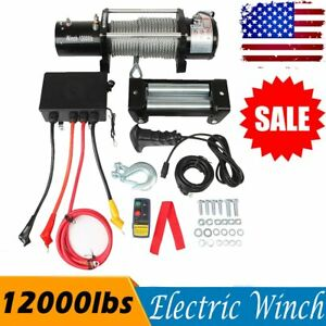 12000lbs 5445kgs 12v Electric Recovery 4wd Winch Kit W Wireless Remote Control