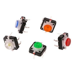 10 Pcs Led Light Momentary Tactile Tact Push Button Switch 12x12x7 3mm 5 Colors