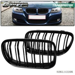 For Bmw E90 E91 Lci 3series 2008 2011 Front Bumper Kidney Grille Glossy Black