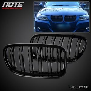Gloss Black Front Kidney Double Rims Grille For Bmw E90 E91 Lci 3 Series 08 11