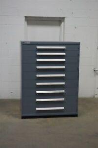 Used Vidmar 9 Drawer Cabinet Industrial Tool Storage 45 Wide 1255