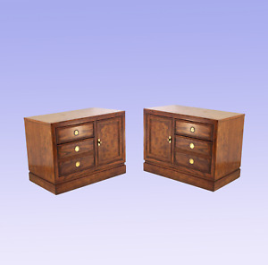 Mid Century Campaign Style Nightstands A Pair Nightstands Pair Walnut