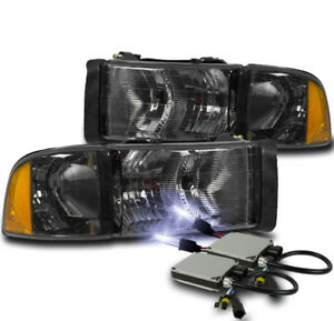 1999 2001 Dodge Ram 1500 Sport Smoke Headlights Corner Lamp 10000k Xenon Hid Kit