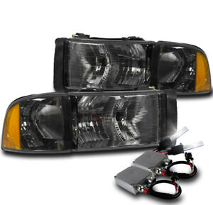1999 2001 Dodge Ram 1500 Sport Smoke Headlights Corner Lamp 50w 6k Xenon Hid New