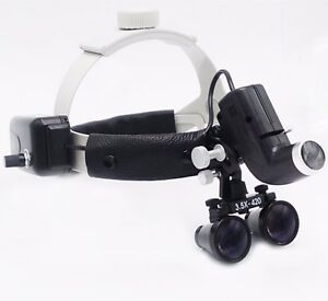 Dental Led Surgical Headlight 3 5x420mm Leather Headband Loupe Dy 106 Black