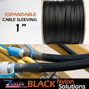 1 1200 Black Expandable Braid Conduit Wire Cable Weave Sleeving Hose Cover