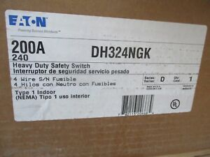 Eaton Dh324ngk 200 Amp 240 Volt 3p4w Fusible Disconnect New b