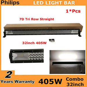 7d Tri row 32inch 405w Curved Led Light Bar Flood spot Combo Off road Jeep Ford