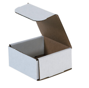 Pack Of 100 Strong Corrugated Mailer 4x4x2 White Small Folding Light Mailing Box
