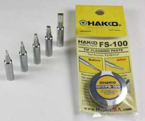 Hakko T18 Series Chisel Tips T18 d08 d12 d24 d32 s3 W Fs 100 Tip Cleaning Paste