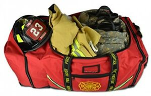 Firefighter Bag With Helmet Pocket Turnout Fire Gear Holder Fireman Rescue Red