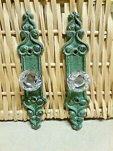 2 Fancy Crystal Knob Drawer Pull With A Bronze Cast Iron Backing Plate 7 Long