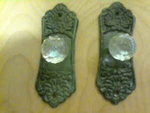 2 Crystal Knob Drawer Pull With Abronze Cast Iron Backing Plate 5 3 8 Long