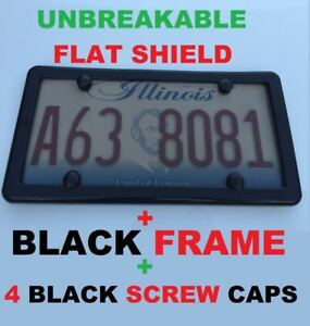 Unbreakable Flat Tinted Smoke License Plate Shield Cover Black Frame 4 Caps