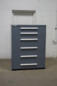 Used Gray Vidmar 6 Drawer Cabinet Industrial Tool Storage 45 Wide 1264