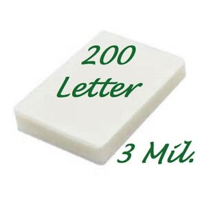 200 Letter Laminating Laminator Pouches Sheets 9 X 11 1 2 3 Mil Scotch Quality