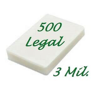 500 Legal Laminating Laminator Pouches Sheets 9 X 14 1 2 3 Mil Scotch Quality