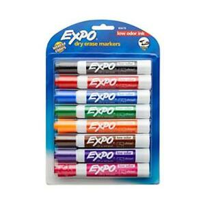 Count 8 Expo 80678 Low odor Dry Erase Markers Chisel Tip Assorted Colors Quick d