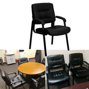 Leather Chair Guest Waiting Visitors Seat Office Padded Arms Cushions Black