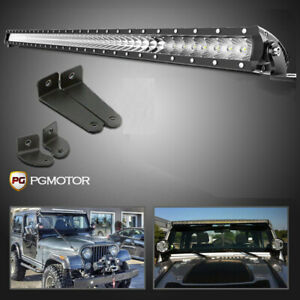 52inch Silm Single Row Led Light Bar Offroad Lights 07 18 For Jeep Wrangler