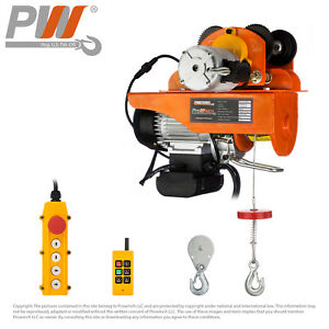 220 Lbs 440 Lbs Electric Rope Hoist W trolley 110 120v 60hz W Emergency