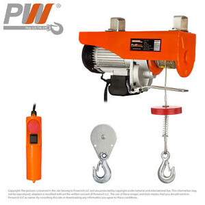 440 Lbs 880 Lbs Electric Rope Hoist 110 120v 60hz W Emergency Stop