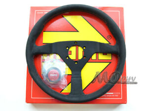 Momo 350mm Monte Carlo Steering Wheel Alcantara Black Spoke Red Stitch Mcl35al3b